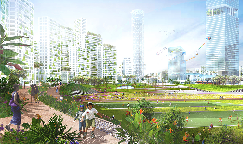 mảng xanh của forest city malaysia